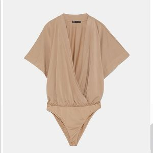 Zara cape sleeve V-neck wrap bodysuit